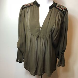 Zara Green sheer embroidered blouse size M